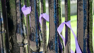 Campaigners tie ribbons to Senate House to support changes to the Disciplinary Procedure
